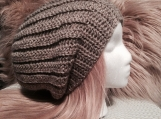 Slouch Taupe  Crochet Hat