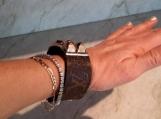 Stud Cuff Bracelet w Louis Vuitton monogram upcycle