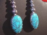 "Bisbee ""Red Web"" Turquoise and Sterling Silver Earrings"