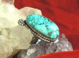 Black Widow Spiderweb Turquoise and Sterling Silver Ring
