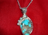 Boulder Cut Bisbee Turquoise and Sterling Silver Pendant