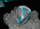 Boulder Cut Bisbee Turquoise and Sterling Silver Ring