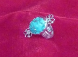 Candelaria Turquoise and Sterling Silver Ring, Size 6.5 US