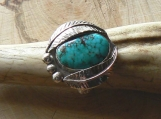 Candelaria Turquoise and Sterling Silver Ring Size 9.5 US