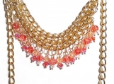 Gold Bib Necklace, Triple Chain Necklace, Pink Beaded Necklace