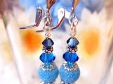 Royal Blue Earrings. Dangle Beaded Earrings, Agate Earrings Sale