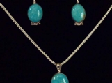 Sterling Silver and Turquoise Mnt. Turquoise Pendant/earring Set