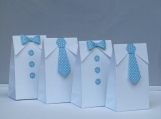 12 Little Man Blue Polka Dots Bow Tie-Tie Favor Bag-Baby Shower