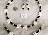 Black & White Necklace,Bracelet and Earing Elephant set