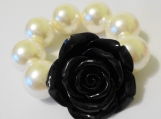 Child's Black Flower And Chunky Ivory Bracelet