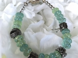 Handcrafted Mint Green Bracelet With Crystals