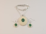 Jade stone Necklace and earrings set