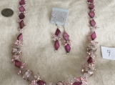 Pink and Dark Pink Necklace  & Pierced Earring Set