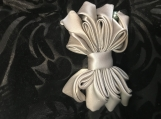 Silver Gray Ribbon barrette with Green and Gray Pearls