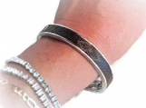 Sleek Silver Band Bracelet fashioned with Authentic Monogram Can