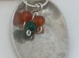 Sterling Silver Spoon Pendant/Carnelian & Jade