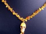 Bone Skull Pendant with Amber Chip Bead Rope