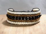 Cleo Cuff, Hand Beaded Bracelet, Black, Gold, White, Vegan Jewelry, Bead Weaving, Birthday Gift, Gifts for Her, Boho, Chic, Professional