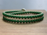 Meadow Wrap Bracelet, Green Stone Beads, Handmade, Hand Beaded, Double Wrap, Stacking Bracelet, Vegan Jewelry, Unisex Bracelet, Birthday