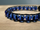 Royal Bracelet, Hand Beaded, Bead Weaving, Blue, Cobalt, Black and Blue, Stacking Bracelet, Vegan Jewelry, Democratic, Patriotic