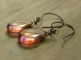 Wild Rose Earrings, Hand Forged, Rose Gold Beads, Handmade