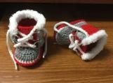 Crochet Boots ~ Winter Baby Boots ~  Fur Trim Sorel Pac Style Crochet Boy Booties