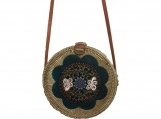 Handwoven Bali Round Rattan Beach Bag with Leather Button Clip