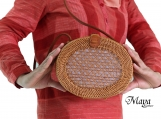 Handwoven Oval Rattan Beach Bags with Button Clip - Wicker Bali Bags with Oval Bride Style