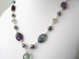 Amethyst, Crystal and Pearl Necklace