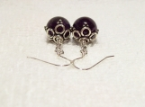 Stylish 925 Sterling Silver Amethyst Pierced Earrings
