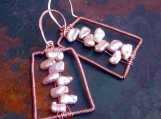 catROCKS ABACUS Keishi Pearls and Copper Earrings