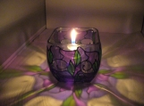 "ENCHANTING HAND PAINTED ""AMETHYST"" LEAD FREE CANDLE HOLDER"