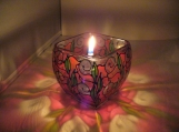 "ENCHANTING HAND PAINTED ""RED GARDEN"" LEAD FREE CANDLE HOLDER"