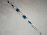 Hematite and turqoise jumpring bracelet