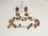 Beautiful 925 Sterling Silver Genuine Leopardskin Jasper Bracelet with Matching Pierced Earrings Set