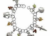 Sterling Silver Charm Bracelet with Crown Jewels and Gemstones