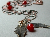 Holiday Carnelian Mixed Metals Handmade Necklace