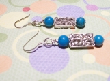 Beautiful 925 Sterling Silver Genuine Turquoise and Filigree Bead Pierced Earrings