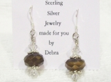 Sterling Silver Faceted Brown Glass Earrings