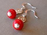 Red Spiral Earrings