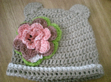Bear Hat, Hand crocheted  for  2-5 year old