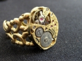 Steampunk brass filigree watch movement ring