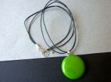 Green Modern Fused Glass Necklace