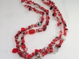 Not your grandmas Spiral rope necklace/Red Mix