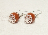 Stylish 925 Sterling Silver Red Jasper Pierced Earrings