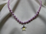 Pink Glass Pearl with Starfish Crystal