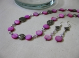 Pink Pearl with Silver and Crystal Necklace and Earrings