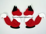 2 Paper Die Cut Foxes - Red