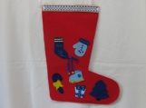 Blue Decorated Felt Christmas Stocking