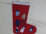 Felt Christmas Stocking with Blue Decorations
